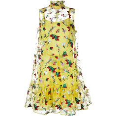 Erdem Strawberry Embroidered Sleeveless Tasha Dress ($1,475) ❤ liked on Polyvore featuring dresses, vestidos, yellow, yellow dress, embroidered flower dress, beige slip dress, slip dress and erdem dress
