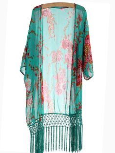Trendy Bohemia Loose Floral Tassel Chiffon Beach Wear Cover Up Women Cardigan - NewChic Mobile Everyday Casual Outfits, Dressy Casual Outfits, Casual Outfits For Moms, Chic Outfits, Chiffon Cardigan, Floral Cardigan, Long Cardigan, Blue Cardigan, Vintage Tops