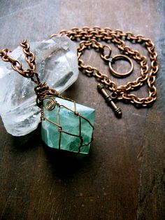 Love the wire wrapping on this  Fluorite Faery Amulet