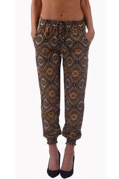 Kaleidoscope Print Harem Pants-Brown