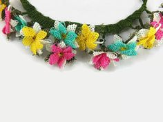Spring Summer Multicolor Oya Lace Flowers Crochet by Nakkashe