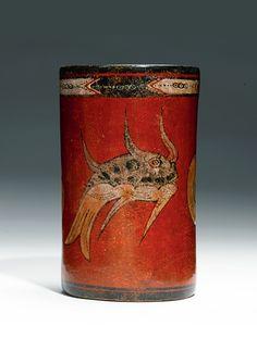 Maya polychrome cylinder vessel, Late Classic, ca. A.D. 550-950   Lot   Sotheby's