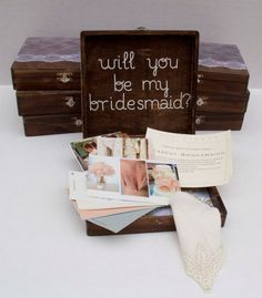 Will you be my bridesmaid? box -- the perfect gift and way to ask someone to be a part of your day!  Fill it with inspiration photos, color
