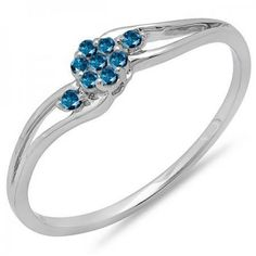 Share and get $20 off your order of $100 or more. 0.10 Carat (ctw) 18k White Gold Round Blue Diamond Ladies Bridal Swirl Split Shank Cluster Promise Ring 1/10 CT - Dazzling Rock #https://www.pinterest.com/dazzlingrock/