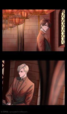 Drarry, Harry Potter Anime, Harry Potter Fan Art, Anime Guys, Manga Anime, Hogwarts Library, Harry Potter Illustrations, Cute Anime Chibi, Angel Of Death