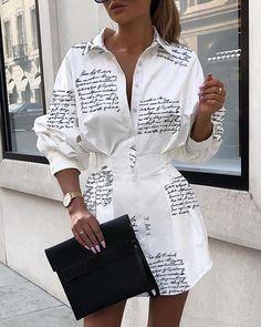 Women Turn Down Collar Letter Printed Shirt Dress Long Sleeve High Waist Plunge Dress Elegant Button Design Dresses Vestidos Trend Fashion, Look Fashion, Fashion Outfits, Womens Fashion, Fashion 2020, Swag Fashion, Fashion Today, Fashion Online, Fashion Heels