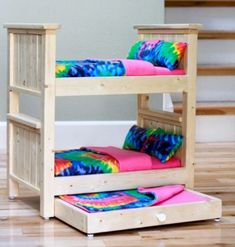 Make your own doll bed for American Girl Doll or other Doll. This sturdy wood doll bed is quick and easy and inexpensive to make. Free step by step plans to DIY a doll bed for your American Girl. American Girl Furniture, Girls Furniture, Diy Barbie Furniture, Furniture Plans, Building Furniture, Farmhouse Furniture, Ikea Furniture, Furniture Design, Diy Dolls House Furniture