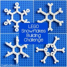 LEGO Snowflakes Building Challenge - Frugal Fun For Boys and Girls Lego Activities, Christmas Activities For Kids, Winter Activities, Toddler Activities, Building For Kids, Lego Building, Lego Projects, Projects For Kids, Stem Projects