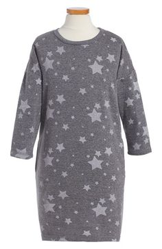 C & C California Star Print French Terry Sweatshirt Dress (Big Girls)…