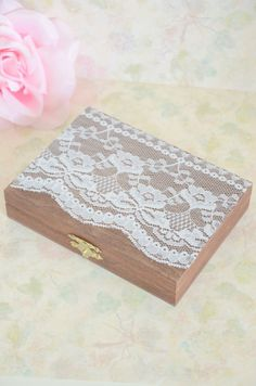 Vintage chic ring bearer box - personalized ring bearer box on Etsy, $38.02 CAD  I would not want it looking shabby... i'd want to paint it and give it a brand new look