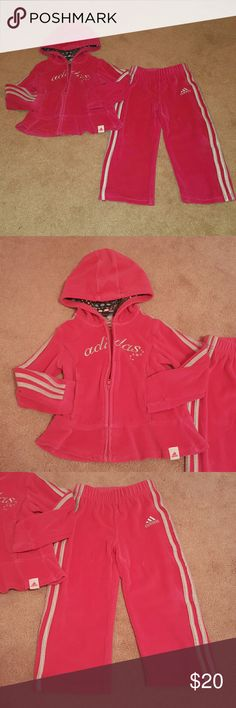 Adidas Hot Pink Velour Track Suit Adorable Peplum Style Jacket With Two Front Pockets!  This Track Suit Will Keep Your Little One Warm On Cold Days! Tag says 24 Months Fits like a 2T Comes From A Smoke and Pet Free Home  Barely Worn! No Rips or Stains or Holes Adidas Matching Sets
