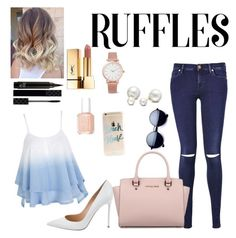 """""""Ruffles"""" by leafashionpro ❤ liked on Polyvore featuring 7 For All Mankind, Gianvito Rossi, Michael Kors, Allurez, Larsson & Jennings, Gucci, Essie, Yves Saint Laurent and ruffles"""
