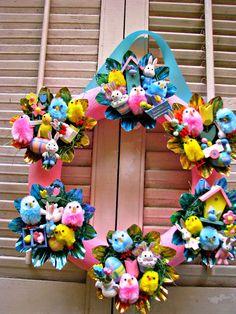 Vintage Easter FUN wreath!~~~www.bethsbagz.etsy.com