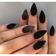 Cute Stiletto Nails With Matte Accents. If you are a passionate lover of a matte finish, have a look at these matte and cute stiletto nails. Excellent Black Stiletto Nail Art Designs for Girls and Women # Elegant Nail Designs, Black Nail Designs, Elegant Nails, Nail Art Designs, Nails Design, Stiletto Nail Designs, Goth Nails, My Nails, Goth Nail Art