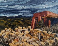 """Echoes of Tularosa, Museum Hill, Santa Fe, NM"" oil on canvas by Erin Fickert-Rowland"