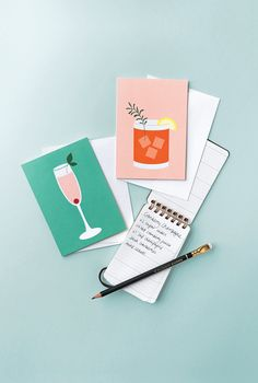 Created in collaboration with Tamara Mayne, these cocktail greeting cards are perfect for all sorts of occasions, and all feature a recipe on the back of each design. Shop online at cardnest.com #greetingcard #illustration #lettering