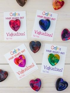 Skip foil-wrapped candies and make a multi-hued DIY crayon the centerpiece of your kid's V-Day cards for the class.