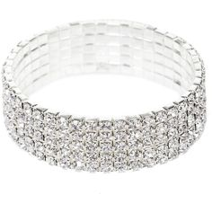 Silver Wrapped In Diamonds Stretch Bracelet ($11) ❤ liked on Polyvore featuring jewelry, bracelets, wrap jewelry, silver jewelry, silver bangles, diamond jewelry and diamond jewellery