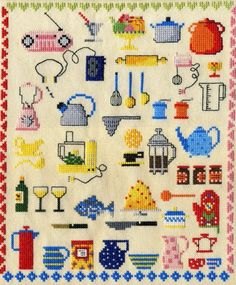 Cute cross stitch -- for the kitchen in a vintage frame? I think yes. Sorry for the embroidery typo -- how do u fix those? Tiny Cross Stitch, Cross Stitch Kitchen, Cross Stitch Samplers, Counted Cross Stitch Patterns, Cross Stitch Charts, Cross Stitch Designs, Cross Stitching, Cross Stitch Embroidery, Embroidery Patterns