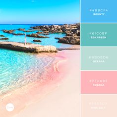 The Wanderlust Collection: Balearic Bounty. Try this dreamy palette in your next design. #4BBCF4 #61C0BF #BBDED6 #FFB6B9 #FAE3D9