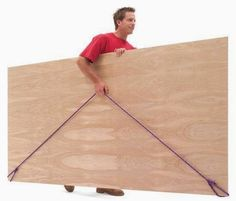 Great way to carry plywood when you're working on a project by yourself