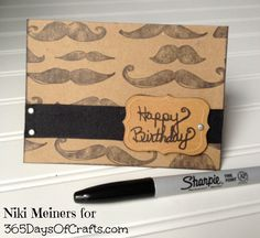 Mens birthday card with mustache
