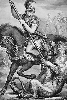 Alexander the Geat king of the ancient Greek kingdom of Macedonia, kills a lion, perhaps in the Persian game park at Bazaira (1880)