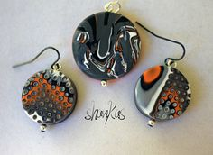 Pendant/Earring set  Polymer Clay  WEARABLE ART by shankas on Etsy, $25.00