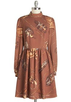 Styled Horses Dress. When you slip into this printed dress from Nishe, youll not only show off your love of equistrian style, but your own personality! #gold #prom #modcloth
