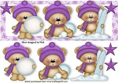 CUTE LITTLE BEARS IN PURPLE WITH PURPLE STARS DL, Lots of other colours and designs in DL to see, makes a cute christmas card