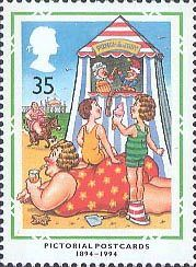 Centenary of Picture Postcards 35p Stamp (1994) Punch and Judy Show