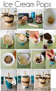 These homemade ice cream pops are amazing! This is a really easy way to jazz up any ice cream flavor. It would be fun for a birthday party and keeps you from Cold Desserts, Frozen Desserts, Sweet Desserts, Frozen Treats, Just Desserts, Sweet Recipes, Delicious Desserts, Dessert Recipes, Yummy Food