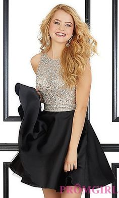 Short Beaded Bodice Dress by Mori Lee at PromGirl.com