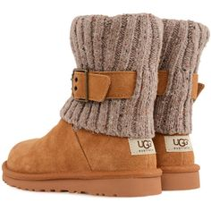 UGG Cambridge shoes ($155) ❤ liked on Polyvore featuring shoes, boots, ankle booties, uggs, zapatos, flats, chestnut, slip on booties, shearling lined boots and slip on flats