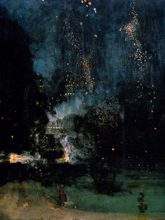 "James Abbot McNeill Whistler, ""Nocturne in Black and Gold: The Falling Rocket,"" 1875, oil on wood"