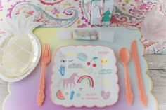 I LOVE UNICORNS SCALLOPED DESSERT PLATE  $8.00 The most fun plate amongst our paper plate collection! Combine these salad/dessert plates with the large rainbow plates and unicorn napkins for a perfectly coordinated set.  www.whitelilacinc.com To SHOP this item click the visit button!