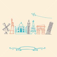 International landmarks and travel destinations cityscape set Royalty Free Stock Vector Art Illustration