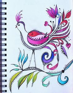 Art Journal - Bird Fantasy in Purple and Red | Flickr - Photo Sharing!