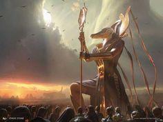 Amonkhet MtG Art - Art of Magic: the Gathering Egyptian Mythology, Egyptian Art, Egyptian Goddess, Anubis, Magic The Gathering, Fantasy Creatures, Mythical Creatures, Character Art, Character Design