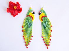 Colorful parrot earrings, cute beaded bird very long earrings, seed bead jewelry, creative beadwork, Tropical Beach Boho summer gift for her Beaded Tassel Earrings, Bird Earrings, Fringe Earrings, Crochet Earrings, Seed Bead Jewelry, Seed Bead Earrings, Seed Beads, Beaded Jewelry, Great Gifts For Wife