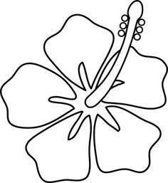 Hibiscus Flower Line Art - Free Clip Art Hawaiian Flower Tattoos, Hibiscus Flower Tattoos, Hawaiian Flowers, Hibiscus Flowers, Hibiscus Cake, Plumeria Tattoo, White Hibiscus, Growing Hibiscus, Hibiscus Plant