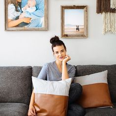 Pops of leather pillows + neutral home decor!