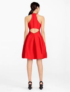 Halston - Silk Faille Structured Dress With Cut Out