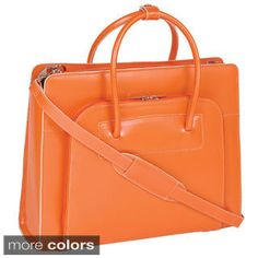 McKlein Women's Orange Lake Forest Italian Leather Laptop Tote Bag | Overstock™ Shopping - Great Deals on McKlein USA Laptop Cases
