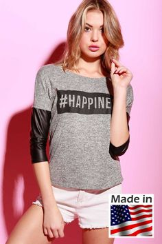 "TIMING 3/4 faux leather sleeved top with ""HAPPINESS"" graphic print #TM30528(M881)"