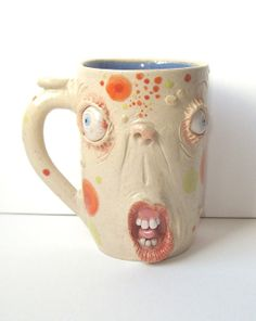 Why the Long Face? Mug One of a KInd artist signed JD Cotton 10 oz Making Faces Pottery