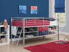 Low loft metal bunk with desk, drawers and shelves for storage.