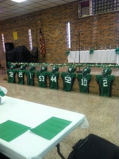 Soccer jerseys of seniors/Banquet Decorations Football Spirit, Football Cheer, Football And Basketball, Softball, Senior Football Gifts, Football Football, Football Stuff, Baseball Jerseys, Volleyball