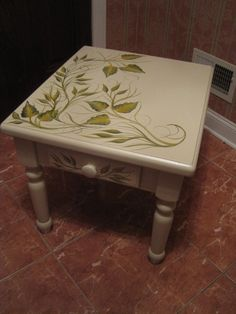 Hand Painted Side End Coffee Table   Heavy Wood by Painted4UbyLucy, $95.00