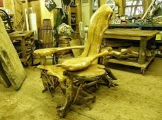 Carved Chair #Adirondack handmade furniture